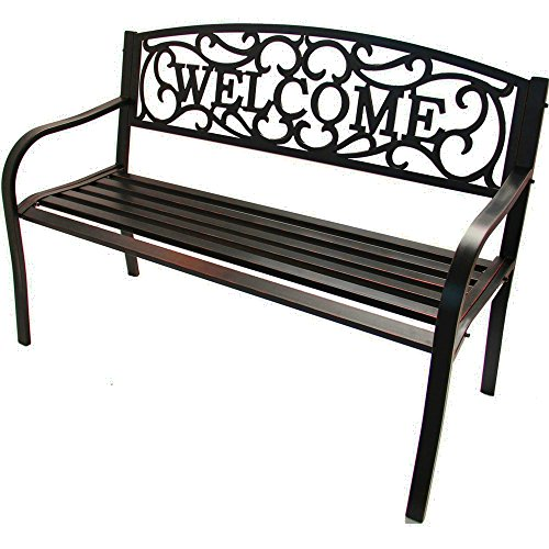 Lightweight Garden Bench with Armrests and Welcome Pattern Steel Metal Antique Gold Classic Portable Outdoor Patio Yard 2-3 Seater Bench eBook by Easy&FunDeals (Bench Garden Metal 3 Seater)