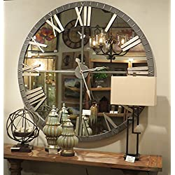 """Zinc Decor Large Bronze Metal Wall Clock With Mirrored Face XL 60"""""""