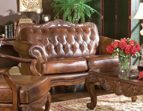 coaster-loveseat-in-brown-tri-tone-leather