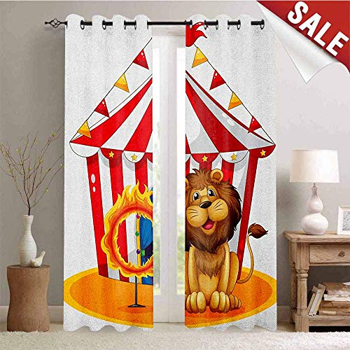 Hengshu Circus Waterproof Window Curtain Lion Beside The Fire Hoop at The Circus Old Fashion Kids King of Forest Illustration Decorative Curtains for Living Room W108 x L108 Inch Multicolor ()