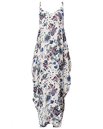 Cystyle - Vestido - trapecio - para mujer azul flores