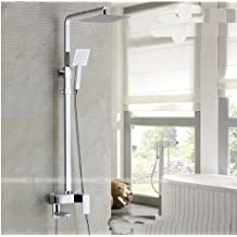 "Rozinsanitary Chrome Brass 8"" Rain Shower Faucet Set Bathtub Shower Mixer Tap Shower Column"
