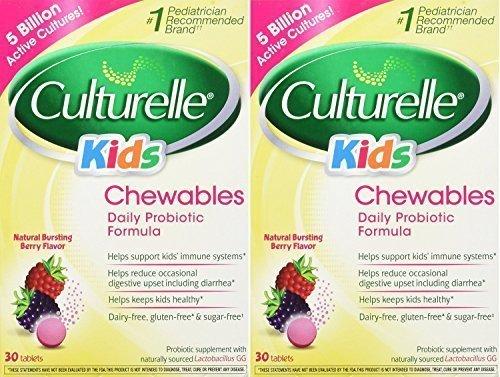 Culturelle Kids! Chewables Probiotic, For Kids 50-100lbs, Tablets, Berry, 30 ea - 2pc