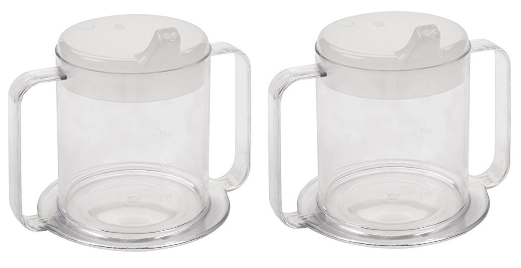 Independence 2-Handle Plastic Mug with 2 Style Lids, Lightweight Drinking Cup with Easy-to-Grasp Handles for Hot & Cold Beverages, Spill-Resistant Adult Sippy Cup, BPA Free Mug (2) by Special Supplies
