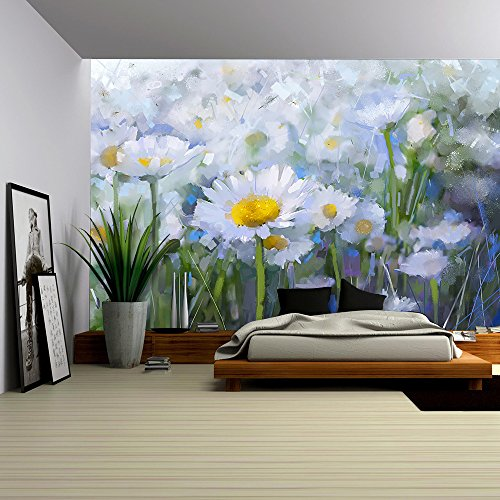 wall26 - Oil Painting White Daisy Flowers in the Meadows - Removable Wall Mural | Self-adhesive Large Wallpaper - 100x144 inches ()