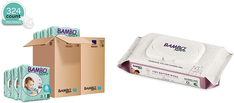Bambo Nature Eco Friendly Baby Diapers Classic for Sensitive Skin, Size 5 (26-49 lbs), 324 Count (2 Cases of 162) with Tidy Bottoms Baby Wipes 1200 Sheets (24 Packs of 50)