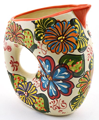 ART ESCUDELLERS Ceramic Flat Oval JUG, Handmade and Handpainted in Flower Decoration. 6,50