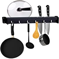 Kitchen racks Kitchen Rail with 6 hooks, 15.4 inch wall mounted Kitchen collection Rack for Pot Bar Spoon cup kitchen utensils