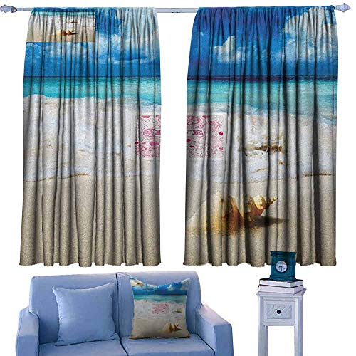 (Mannwarehouse Seashells Privacy Curtain Nautical Picture of Sunny Sandy Coastline Caribbean Ocean with Waves Set of Two Panels 55