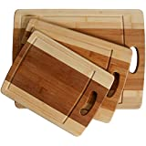 Organic Bamboo Cutting Board 3PC Set, Heim Concept Various Convenient Sizes Eco- Friendly Bamboo Premium Wood Chopping Board With Drip Groove