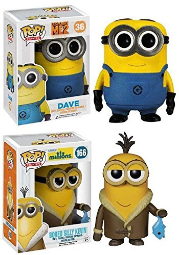 Funko POP! Minions: Dave + Bored Silly Kevin - Movie Vinyl Figure Set NEW