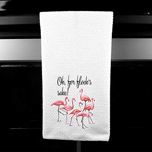 Oh for Flocks Sake Flamingo Funny Saying Kitchen Towel Best Friend Gift