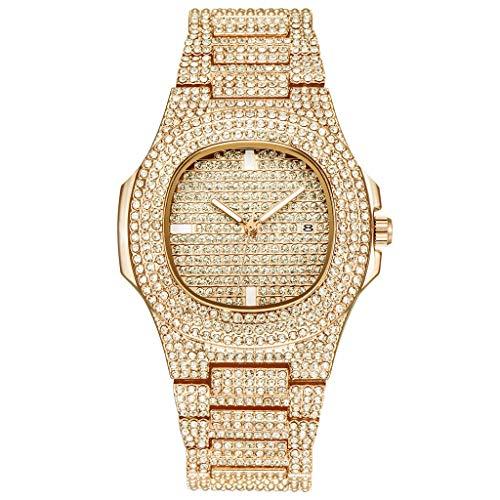 XBKPLO Women Watches Calendar Quartz Luxury Full of Diamonds Temperament Analog Wrist Steel Strap Jewelry Gift (Gold)