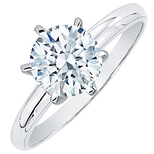 1/2 ct. L - SI3 Round Brilliant Cut Diamond Solitaire Engagement Ring in 14k White Gold (Size-7) ()