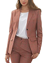 Women's Suits Two Buttons 2 Pcs Casual Blazer Flat Front Skinny Pants Set