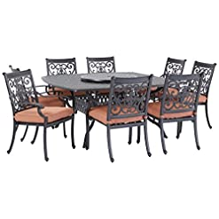 Garden and Outdoor Darlee St. Cruz Cast Aluminum 10-Piece Dining Set with Seat Cushions, 64-Inch Square Dining Table and 30-Inch Lazy Susan… patio dining sets
