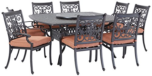 Darlee St. Cruz Cast Aluminum 10-Piece Dining Set with Seat Cushions, 64-Inch Square Dining Table and 30-Inch Lazy Susan, Antique Bronze Finish For Sale