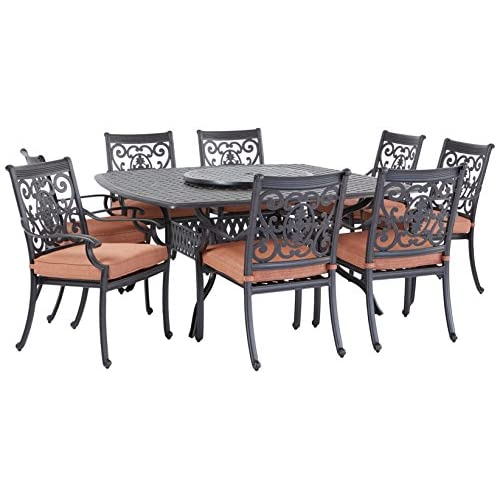 Darlee St. Cruz Cast Aluminum 10-Piece Dining Set with Seat Cushions, 64-Inch Square Dining Table and 30-Inch Lazy Susan, Antique Bronze Finish
