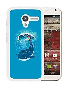 New Custom Designed Cover Case For Motorola Moto X With Ah Whale Wave Animal Illust Art Sea (2) Phone Case