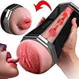 Male Masturbator Smart Vibrating Sucking Masturbation Cup Vagina and Mouth with Teeth and Tongue 3D Realistic Heating Stroker with Moans Piston Novelty Stroker Dual Hole Rechargeable Sex Toys