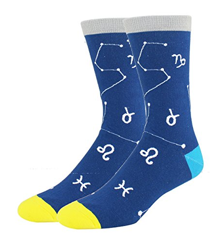 Men's Funny Novelty Crew Space Big Dipper Constellation Cotton Socks in Blue from HAPPYPOP
