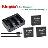 Blueskysea Three-slot Charger + 3pcs 3.85V 1400mAh Rechargable Battery For Xiaomi Yi 4K Camera
