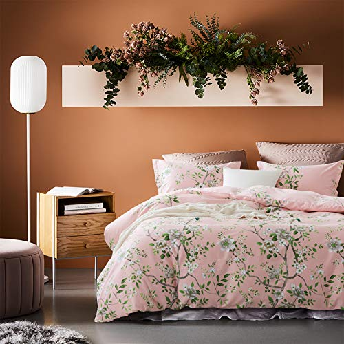 Eikei Cottage Country Style 3 Piece Duvet Cover Set Multicolored Roses Peonies Bouquet 100-percent Cotton Shabby Chic Reversible Floral Bedding (Queen, Pleasant Pink)
