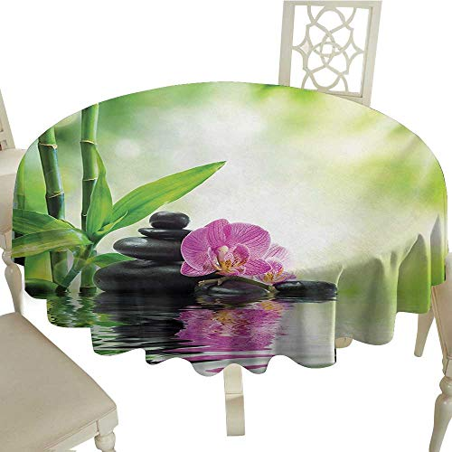 Zodel Waterproof Tablecloth Spa Orchids and Rocks in The Mineral Rich Spring Water Spiritual Deep Treatment Cure Table Decoration D60 Suitable for picnics,queuing,Family