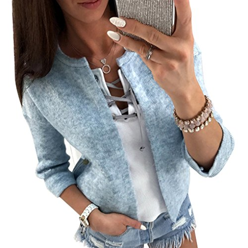 Women 3/4 Sleeve Knitted Cardigan Outwear Coat Sweater - 6