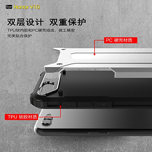Funda Huawei Honor View 10/Honor V10,XINYUNEW TPU+PC [Regalo Cristal Vidrio Templado] Premium Armadura Híbrido caja de la armadura para el teléfono Silicona Carcasa Case Funda para Huawei Honor View 1 Negro