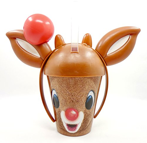 Denny's Holiday Novelty Cup,Plastic,Straw,12oz.Headband (Rudolph the Red-Nose - Novelty Denny