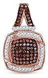 10K Rose Gold Prong Set Chocolate Brown & White Princess Square Halo Diamond Pendant Charm (1/3 cttw.)