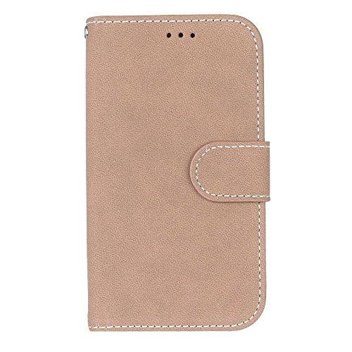 YHUISEN Estilo retro de color sólido Premium PU cuero Wallet caso Flip Folio cubierta protectora de la caja con ranura para tarjeta / soporte para Samsung Galaxy S4 ( Color : Green ) Beige