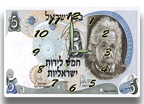 Albert Einstein Customized Money Clock Israel Currency 5 Lirot Series 1968 8 x 12 inch clock Theoretical Physics Quantum Mechanics Philosophy Science