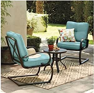 Amazon.com : 3 Pc Metal Patio Table and Chairs Set w/Blue ...