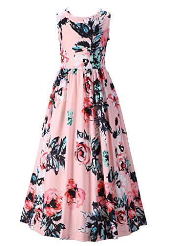 Happy Rose Girls Floral Dress Girls Fit and Flare Maxi Dress Sleeveless Holiday Long Dress Size Size6-12Years
