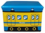 Yellow & Blue Train Collapsible Storage Organizer by Clever Creations | Storage Box Folding Storage Ottoman for Your Bedroom | Perfect Size Storage Chest for Books, Shoes & Games