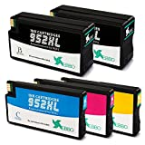 EBBO High Yield 952XL Remanufactured ink cartridges replacement for HP 952 ink (2 Black 1 Magenta 1 Yellow 1 Cyan), used in HP OfficeJet Pro 8710 8720 8740 7740 8216 8730 8715 7720 8725 8702 Printer