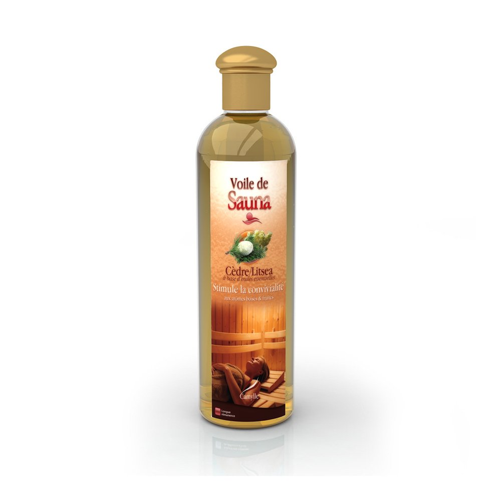 Camylle - Voile de Sauna - Solution à base d'huiles essentielles pour sauna – Cèdre Litsea - Stimule la convivialité– 250ml