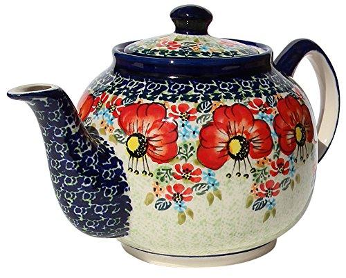 polish pottery teapot with warmer - 1