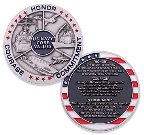 (Navy Core Values Challenge Coin - United States Navy Challenge Coin - Amazing USN Navy Military Coin - Designed by Military)