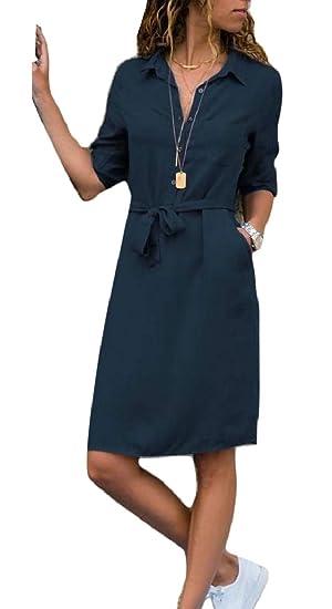 28319754139 HTOOHTOOH Womens Casual 3 4 Sleeve Loose Belted Shirt Dress Midi Dress at  Amazon Women s Clothing store