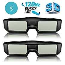 ExquizOn 3D Glasses 2 Packs 120Hz Active Shutter Rechargeable Lightweight for All Ultra-Clear Hd Ready Bluetooth 3D TV Sony, Panasonic, Sharp, Toshiba, Mitsubishi, Samsung
