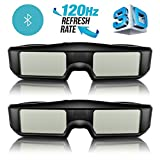ExquizOn 3D Glasses 2 Packs 120Hz Active Shutter Rechargeable Lightweight for All Ultra-Clear
