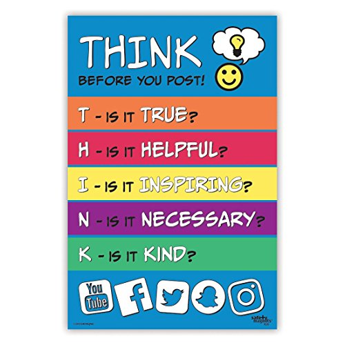 Think Before You Post - Bullying Prevention Inspirational Classroom Poster - 12 x 18 in. - Laminated
