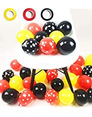 100 Pack Mickey Mouses Balloons, 12 Inch Latex Balloons Red Black Yellow Polka Dot Balloons Mickey Color Balloons Kit for Baby Birthday Baby Shower Mickey Mouses Theme Party Supplies