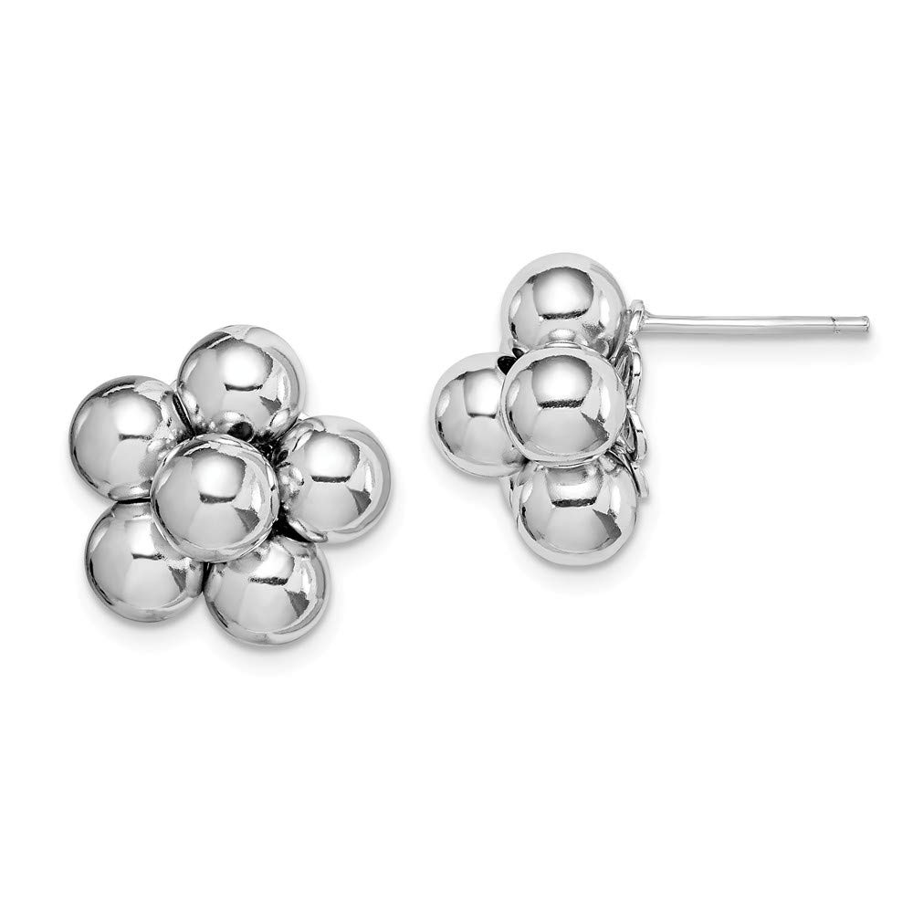 925 Sterling Silver Beaded Post Stud Earrings Ball Button Flower Gardening Fine Jewelry Gifts For Women For Her