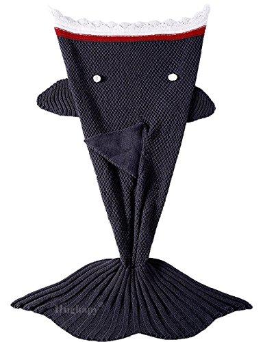 Dark Shark (Hughapy knitted Mermaid Tail Blanket for Adults Teens,Kids Crochet Snuggle Mermaid,All Seasons Seatail Sleeping Bag Blanket (71