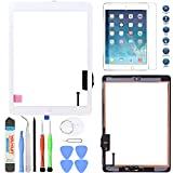 PC Hardware : Unifix-White Touch Screen Glass Digitizer For iPad Air 1st Generation with Pre-installed Adhesive + Home Button + Tool Kit