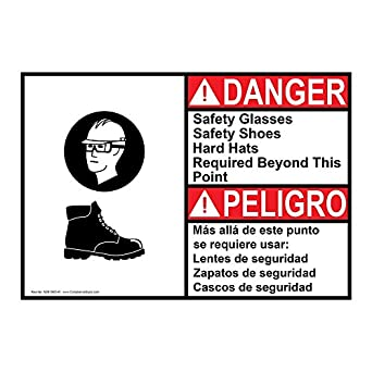 ComplianceSigns Aluminum ANSI DANGER Safety Glasses Safety Shoes Hard Bilingual Sign, 14 X 10 in